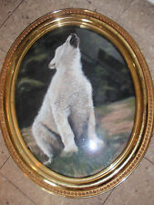 ORIGINAL FRAMED SIGNED PASTEL DRAWING WHITE HOWLING WOLF 23 X 19 INCHES