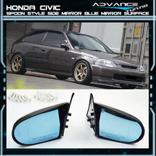 Fit For 96-00 Honda Civic 2Dr 3Dr SPOON Style Blue Side View Mirrors ABS Manual