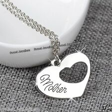 Mother Heart Necklace Engraved Silver Xmas Jewellery Gifts For Her Mum Mom Women