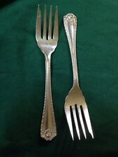 "Lot of 2 CASCADE SALAD DESSERT FORKs BY BIRKS REGENCY PLATE Silver  6 1/8""  set"