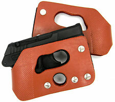 BROWN LEATHER POCKET WALLET SHOOT-THROUGH THRU HOLSTER for RUGER LCP 380
