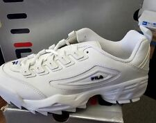 Fila Men's Disruptor IV Leather And Synthetic Sneakers White/Black/Royal SZ 7.5