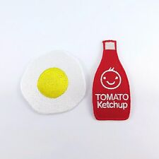 2 Pcs. Embroidered Iron On Patch Fried Egg Tomato Sauce Ketchup Fabric Craft Sew