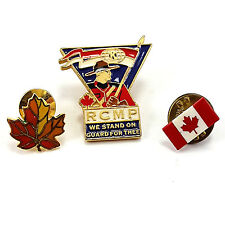RCMP Mounties Canada Flag Maple Leaf Vintage Pin Lot Gold Tone Enamel p610