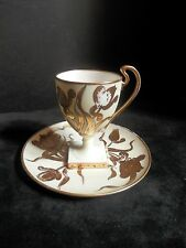 Art Nouveau Belleek Willets D'Arcy's Gold Cream Cup & Saucer Floral Signed LaRue