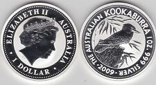 2009 AUSTRALIA SILVER 1oz.KOOKABURRA ON TREE STUMP WITH LEAVES IN A CAPSULE