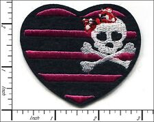 """20 Pcs Embroidered Iron on patches Girly Skull bone heart 2.76x2.36"""" AP015bB"""