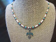 """925 Sterling Silver Old Navajo PEYOTE BIRD Pendant Blue/White/Red Necklace 21"""""""