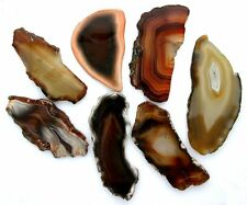 TWO 3 INCH POLISHED BRAZILIAN AGATE SLICES NATURAL UNDYED GEMSTONE PAS2