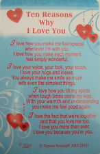 "Pocket Keepsake Messages""Ten Reasons Why I Love You"" Wallet/ Purse Card Envelope"