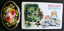 Russian traditional lacquered brooch pin floral flowers hand-painted + magnet #2