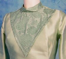 VtG 60s MiD CENTURY MiNT GREEN SiLK SATiN SHEEN BROCADE COCKTAiL PARTY DRESS S/M
