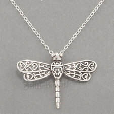 """DRAGONFLY Charm Pendant 925 STERLING SILVER Garden Insect 18"""" Necklace Pretty!"""