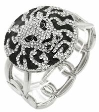 Bling Rhinestone LION HEAD Statement Silver & Black Bracelet LEO Bangle STRETCH