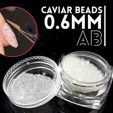 0.6mm AB Crystal Glass Caviar Beads Tiny 3D Micro Pixie Mermaid Nails Art Hot