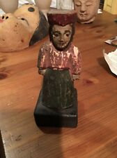 ANTIQUE VTG Philipines HAND CARVED WOOD WOMAN FIGURINE