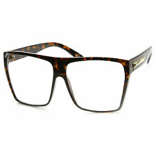OVERSIZE VINTAGE RETRO NERD CLUB RAVE Clear Lens EYE GLASSES Tortoise Frame