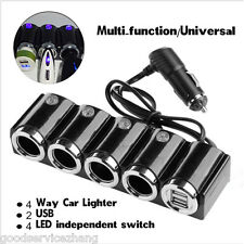 4 Way Car Cigarette Lighter Socket Splitter Charger USB 12V 24V LED Light Switch