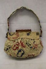 VINTAGE SPOT-LITE L&M Cloth Purse, Multi-Colored W/Floral Desgin & Gold Decor