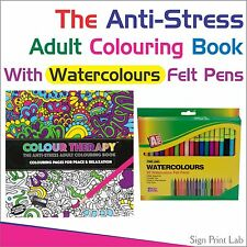 ANTI-ESTRÉS ADULTO PARA COLOREAR LIBRO COLOR TERAPIA 120Pg + 20 ACUARELAS