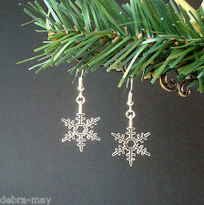 Pretty Winter Snowflake Star Dangly Drop Earrings