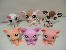 LOT OF 6 LITTLEST PET SHOP FARM ANIMAL FIGURES COW PIGS LAMB HASBRO BARNYARD