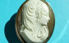 SOLID 9ct Gold LARGE Antique Vintage Shell Cameo Lady Portrait Brooch Pendant