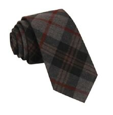 NEW WOOL TARTAN TIE COUNTRY TWEED SCOTTISH STYLE PLAID GREY WOVEN SKINNY SMART