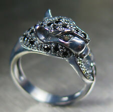 Natural spinel, Alexandrites sapphires Oxidized Sterling 925 Silver panther ring