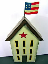 """4TH OF JULY SUMMER Americana Rustic 9"""" Colonial Building Cutout A-Frame Flag NEW"""