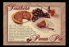 Recipe postcard US Southern Pecan Pie Florida FL