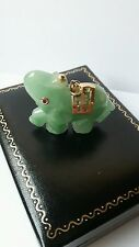QVC 14K YELLOW GOLD, JADE & RUBY GOOD FORTUNE ELEPHANT PENDANT.