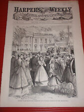 ANTIQUE HARPERS WEEKLY 1868 NEWSPAPER GROUNDS OF THE WHITE HOUSE 11.5 x 16 inch