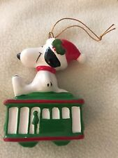 Peanuts Gang Snoopy Laying top Green Cable Car Japan 1958,1966 Ceramic Ornament