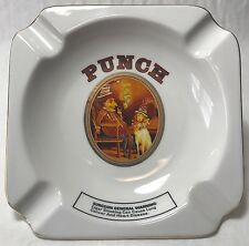 """Punch Cigar brand white ceramic ashtray 8"""" by 8"""" """"Puppet And Dog"""""""