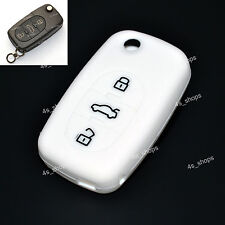 3 Buttons White Silicone Cover Flip Key Case Holder For AUDI A2 TT A4 A8 Quattro