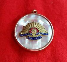 WW1 SWEETHEART LOCKET TRENCH ART MOTHER OF PEARL WITH RISING SUN