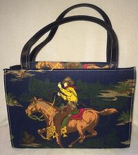 Western Rodeo Cowboy Purse Handbag Horse Lasso Bag Embroidered Blue 11x8x4.5""