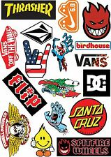 17 Skateboard Stickers A4 Sticker sheet surf skate scooter mobile tablet car vw