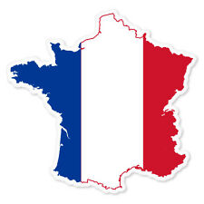 "France Map Flag French Map car bumper sticker window decal 4"" x 4"""