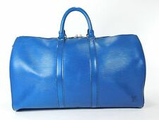 Louis Vuitton Keepall 50 Blue Duffle Bag Suitcase Epi Leather Vintage Carry G218