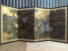 Antique Japanese Chinese 4 Panel Folding Screen Byobu Painted 49x24 Signed GOLD