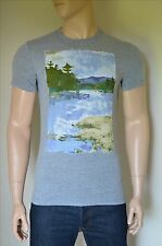 NEW Abercrombie & Fitch Painted Graphic Tee Grey T-Shirt XL