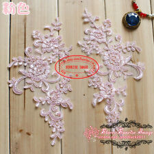 BF106 25*12.5cm, 2PC Flower Embroidered Lace Trim Sewing Applique Dress Decor