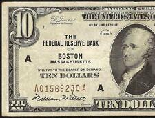 1929 $10 DOLLAR BILL BOSTON FRBN FEDERAL RESERVE BANK NOTE MONEY CURRENCY 1860-A