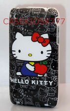 FOR IPHONE 3G 3GS CASE  skin BLACK WHITE W/ RED BOW cute kitten  HARD BACK/