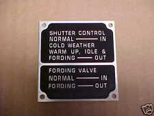 NOS Mack & Autocar Shutter Control data plate for Vintage Trucks