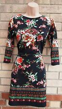 PRIMARK BLACK RED GREEN FLORAL BODYCON CROP SLEEVE TEA RARE DRESS 10 S