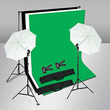 Studio Umbrella Lighting Black White Green Background Backdrop Light Stand Kit