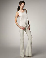 Theyskens' theory Kick Flared Wide Leg Linen Pants Jean White Ecru W24 L30 UK 6